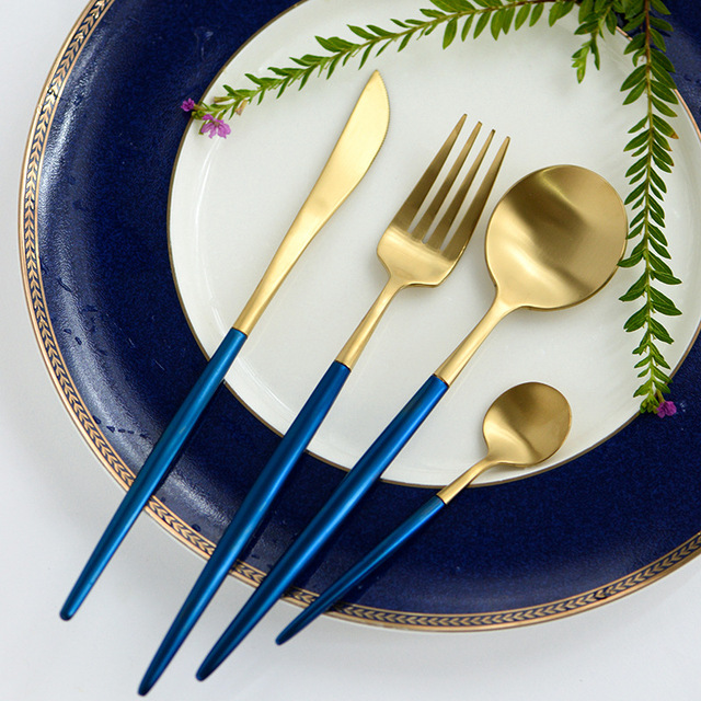 4pcs Lot Portuguese Blue Handle Knife And Fork Golden Set Stainless Steel Flatware Spoons Home
