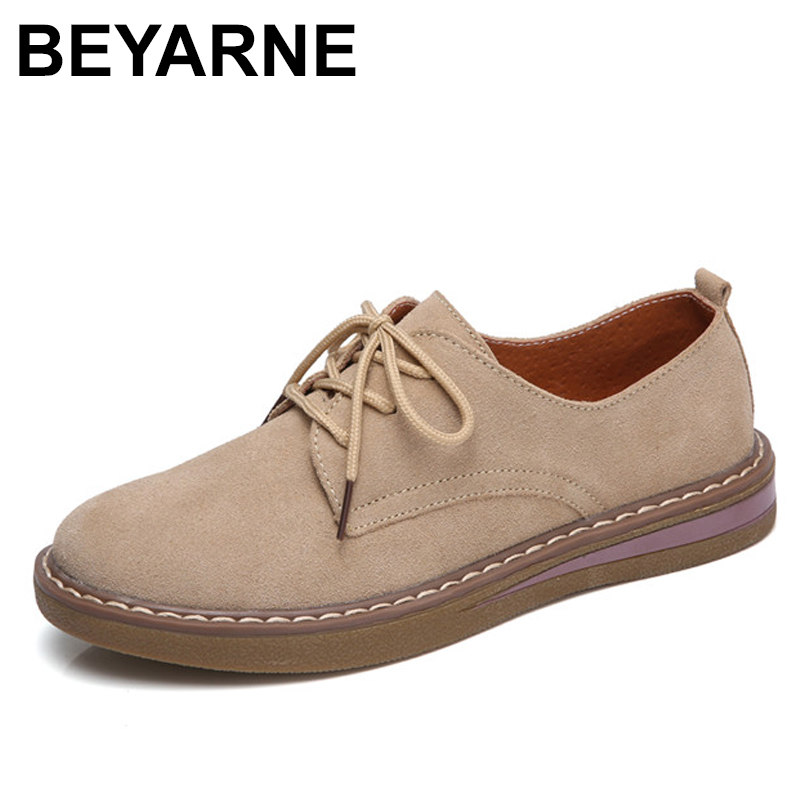 BEYARNE Oxford Shoes Women Genuine Leather Designer Solid Women Flats Shoes Autumn Lace Up Cow Leather Flat With Casual Shoe 2017 spring autumn new genuine leather lace up oxford shoes female thick bottom flats shoes europe style martin shoe obuv