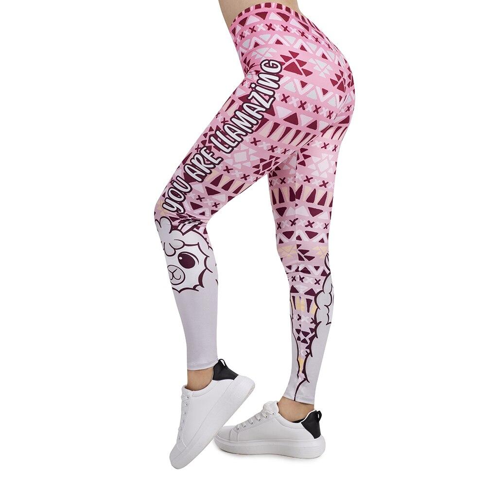 Women Legging Pink Geometric Llamazing Printing Leggins Slim High Elasticity Legins Fitness Leggings Female Pants