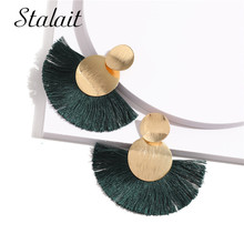 Luxury Double Round Sequins Tassel Earrings Female Sector Ribbon Drop For Women Engagement Gift 2019 New
