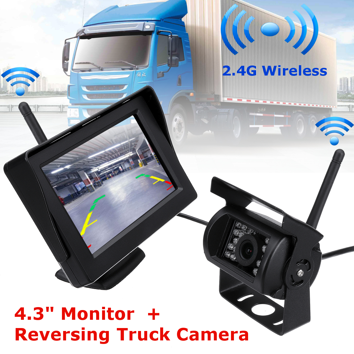 LCD 4.3 Inch Car TFT Monitor and 2.4G Wireless Night Vision Car Rear View Backup Camera System for 12-24V Truck Trailer wireless dual backup cameras parking assistance night vision waterproof rear view camera 7 monitor for rv truck trailer bus