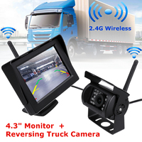 LCD 4.3 Inch Car TFT Monitor and 2.4G Wireless Night Vision Car Rear View Backup Camera System for 12 24V Truck Trailer