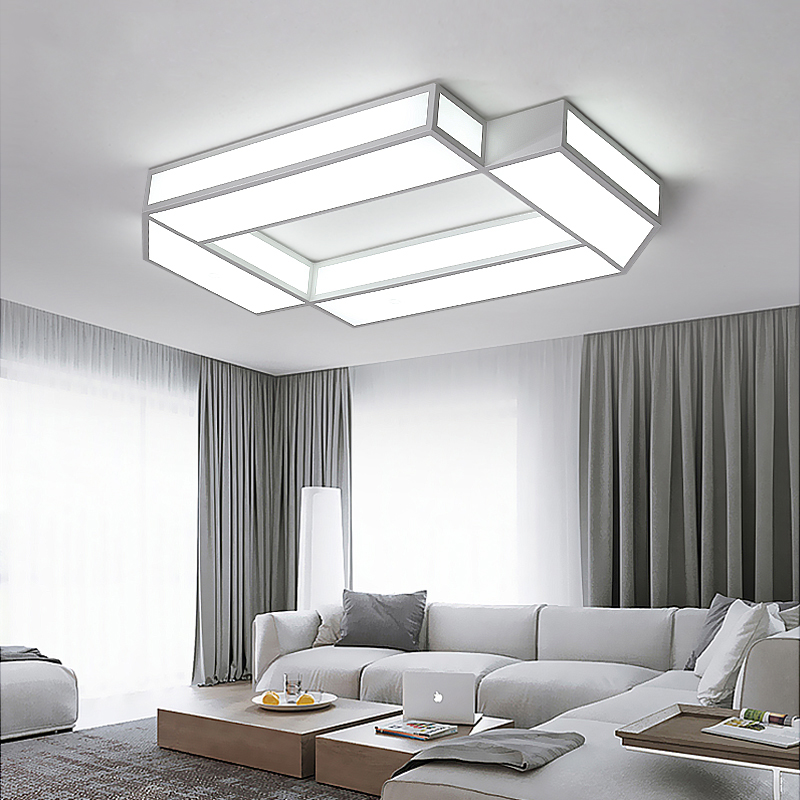 Rectangle LED Ceiling Lights For Living Room Bedroom AC85~265V lampara de techo Modern Ceiling Lamp Home Decor Lighting Fixtures black or white rectangle living room bedroom modern led ceiling lights white color square rings study room ceiling lamp fixtures