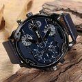 Oulm reloj de los hombres grandes del dial horas hombre militar banda de cuero reloj de cuarzo ocasional masculina marca de relojes de lujo relogios masculinos