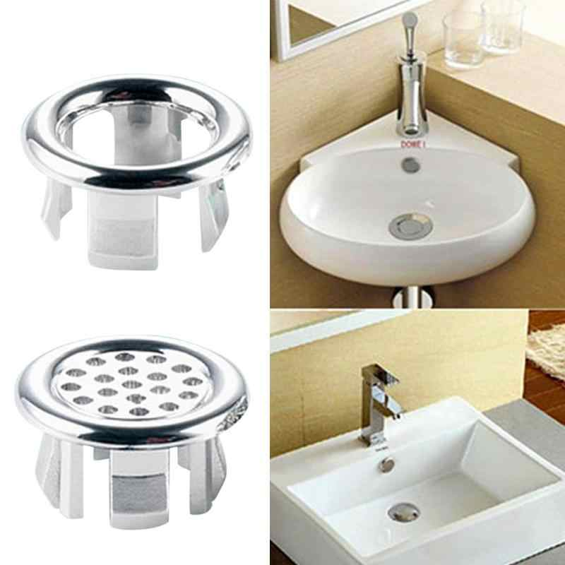 Home Bathroom Washbasin Overflow Cover Sink Round Ring Overflow Hole Cover Tidy Chrome Trim Ceramic Basin Overflow Ring