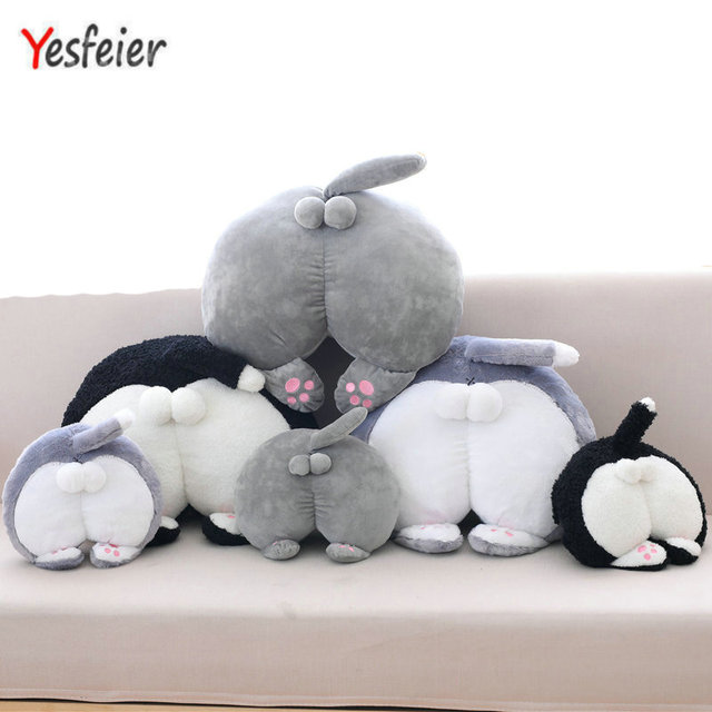 Cute Cat Butt Plush Toys Pillow Cushion Hand Warm Stuffed Plush Animals Cat Butt Doll