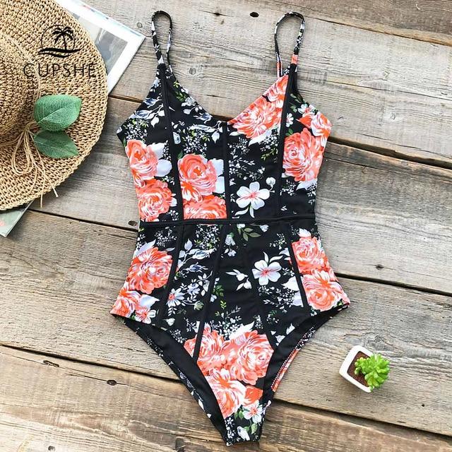 7293c0ba4bf29 CUPSHE Hidden Fragrance Flora Print One-piece Swimsuit Back Cutout V neck  Sexy Monokini 2019 Ladies Beach Bathing Suit Swimwear