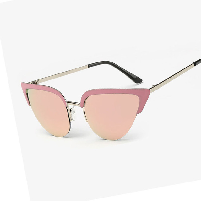 a1dc244599c56 Luxury CAT eye Sunglasses women vintage brand designer half rim Sun glasses  women s Rhinestone Metal frame 7 Color Oculos de sol