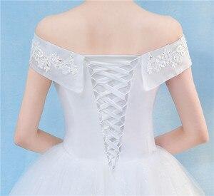 Image 5 - Nova chegada 2020 frete grátis vintage elegante rendas branco vestidos de casamento barco pescoço plus size vestido de baile robe de barato