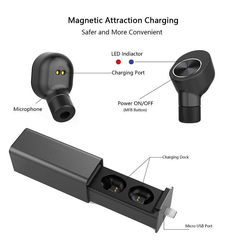 Bluenin True Draadloze Hoofdtelefoon Sport Bluetooth V4.2 Oordopjes Best In Ear Draadloze Koptelefoon met Opladen Case voor huawei p9 lite - 2