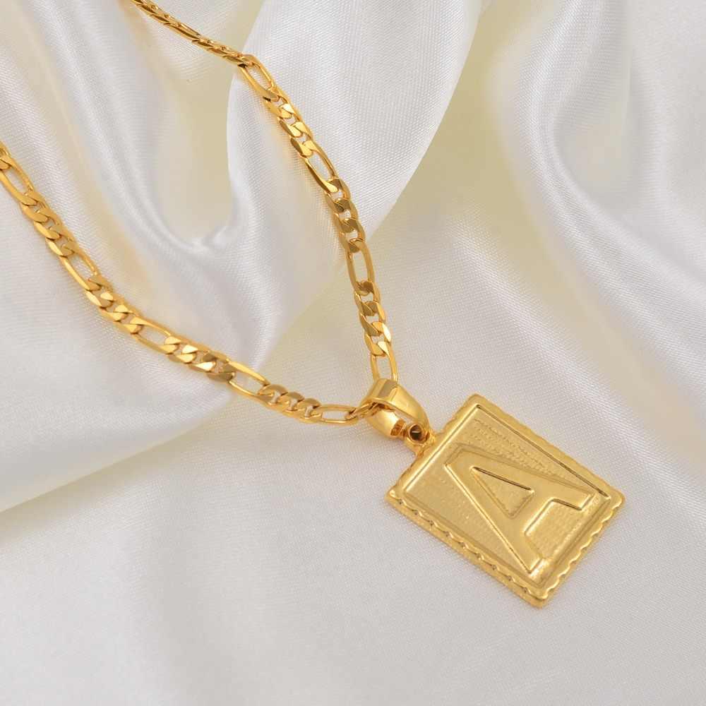 Anniyo A-Z kwadratowe litery naszyjnik złoty kolor początkowy łańcuszek z wisiorem dla kobiet mężczyzn angielski alfabet literowy biżuteria prezenty #104006