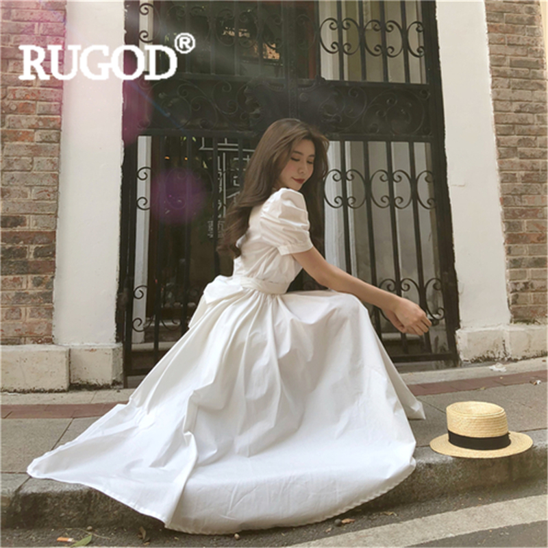 RUGOD Women Maxi Dress Solid Puff Sleeve Bow Empire Waist Ball Gown Long Dress 2019 New Fashion Female Elegant Vintage Party