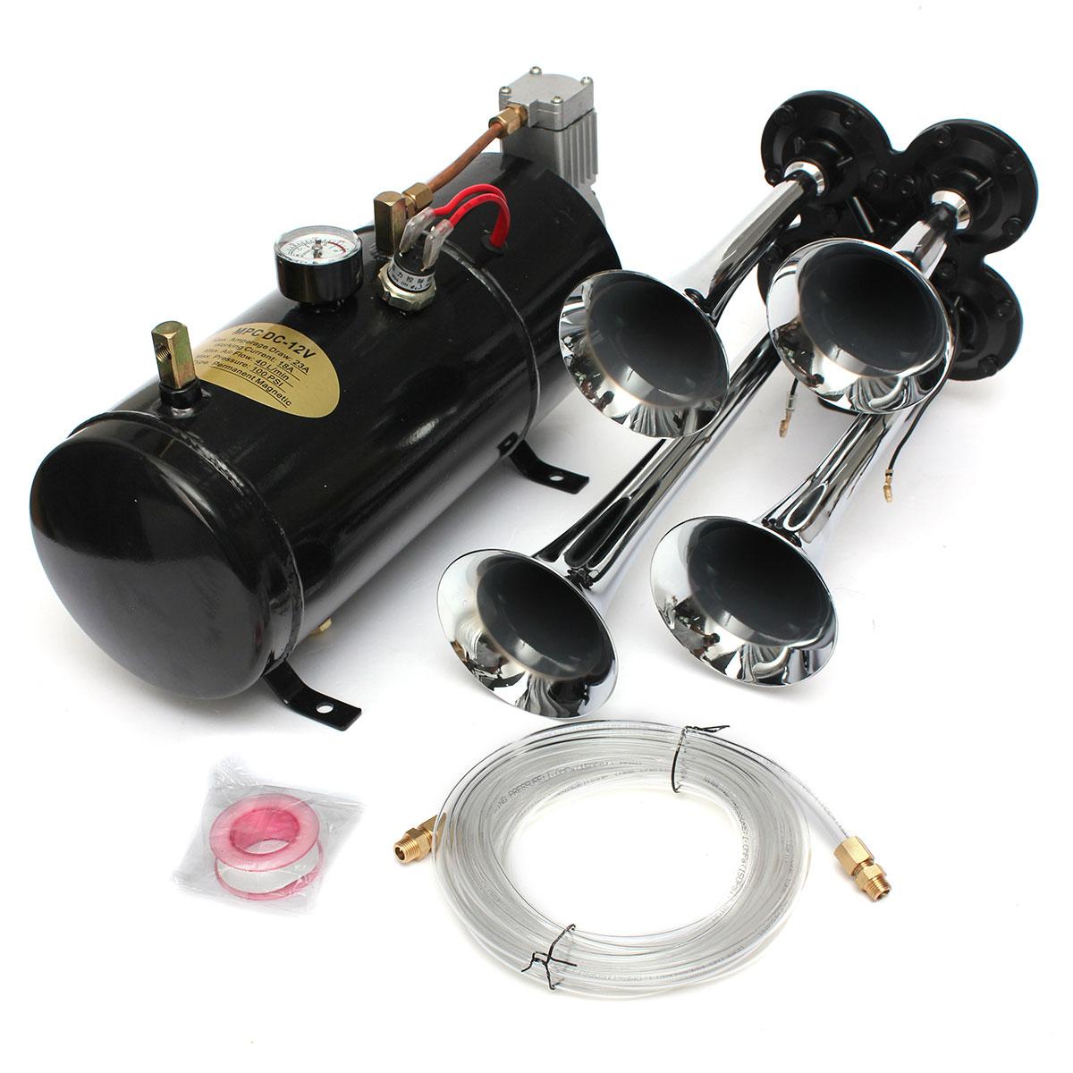 Universel 12 v 150.2 db Moto De Voiture Camions Bateaux 4 Trompette Air Horn Compresseur Tube
