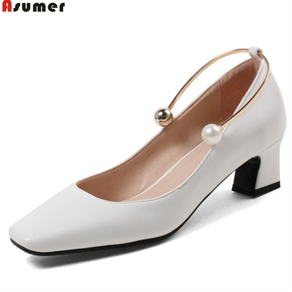 ASUMER black white fashion spring autumn new arrival square toe shallow elegant women med heels shoes big size 33-44 new leather black shallow casual shoes spring and autumn big size rough with professional women s shoes hot models fashion shoes