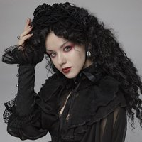 PUNK RAVE Women Gothic Lolita Floral Lace Headwear Evening Party Gothic Novelty Head Accessories