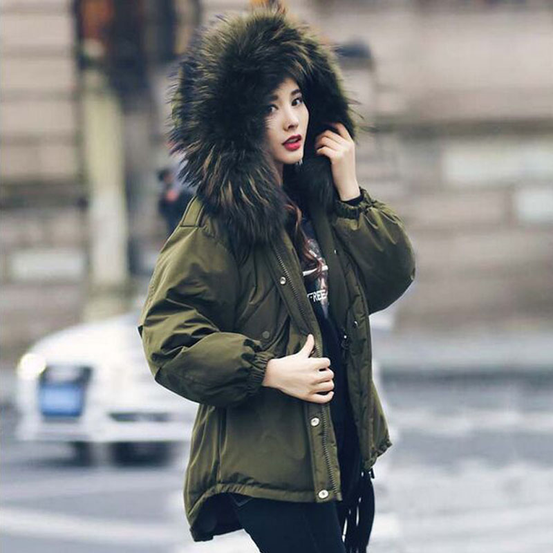 Large Real Natural Raccoon Fur 2018 Fashion Brand Winter Jacket Women White Duck Down Coat Warm Loose Amry Green Parkas