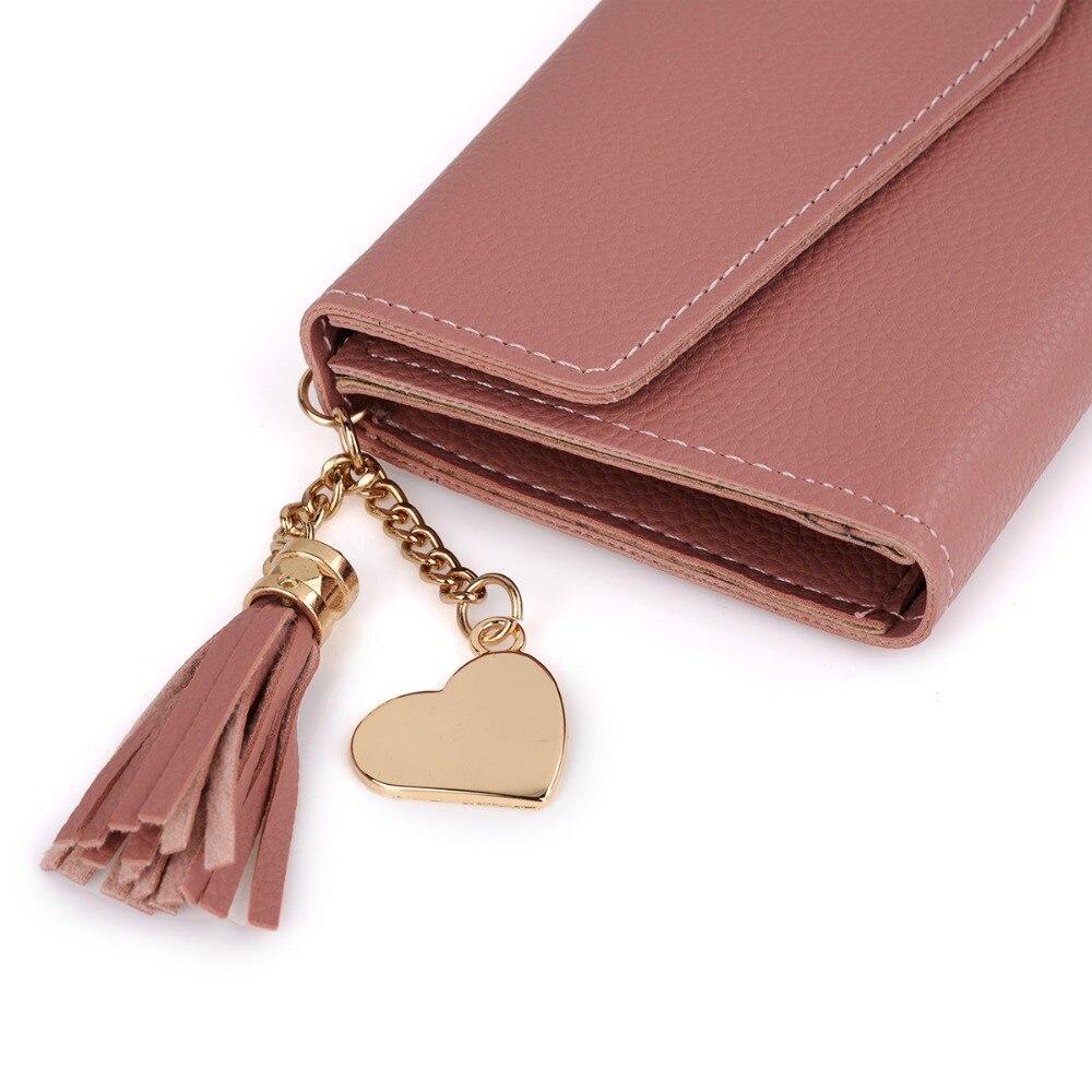 Arsmundi 2019 Long Hasp Wallet Women Purses Clutch Heart-shaped Tassel Lychee Leather Carteira Feminina Card Holder Lady Wallets #6