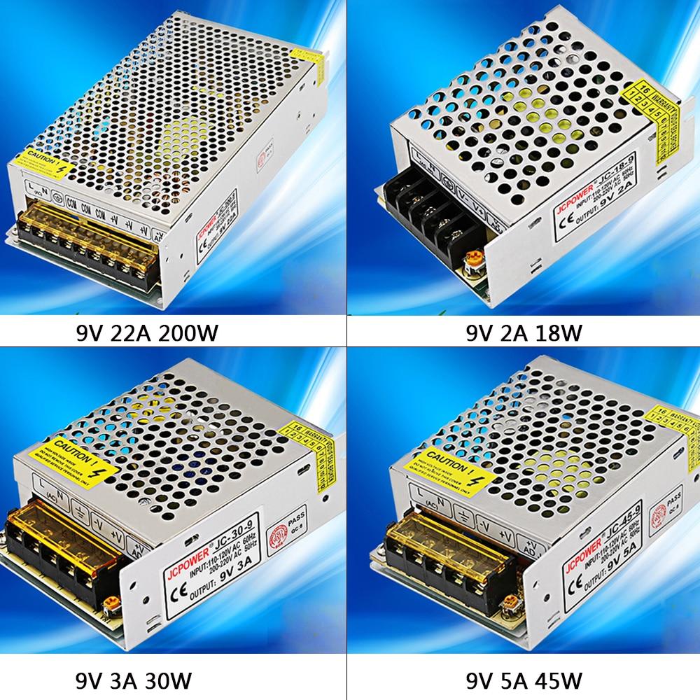 Dc9v 2a/3a/5a/22a/30a regulou a fonte de alimentação de comutação ac110v 220v para dc 9v conduziu o transformador do motorista para a luz de tira conduzida cnc