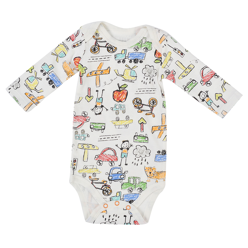 Baby Clothing Set Long Sleeve Baby Cotton Bodysuits Car Aircraft Printed Body Suits Costumes Kids Toddler Jumpsuit Clothes F40