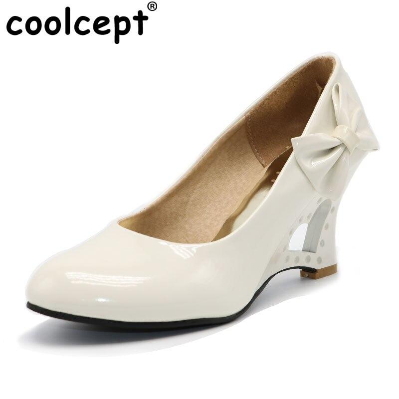 CooLcept 6 видов цветов женские высокий каблук туфли на танкетке Боути бантом на платформе пикантное женское платье Модные женские туфли-лодочк... ...