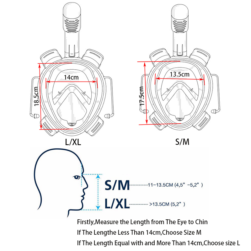 2017 new Underwater Scuba Anti Fog Full Face Diving Mask Snorkeling Set  Respiratory masks Safe and waterproof D1355HY