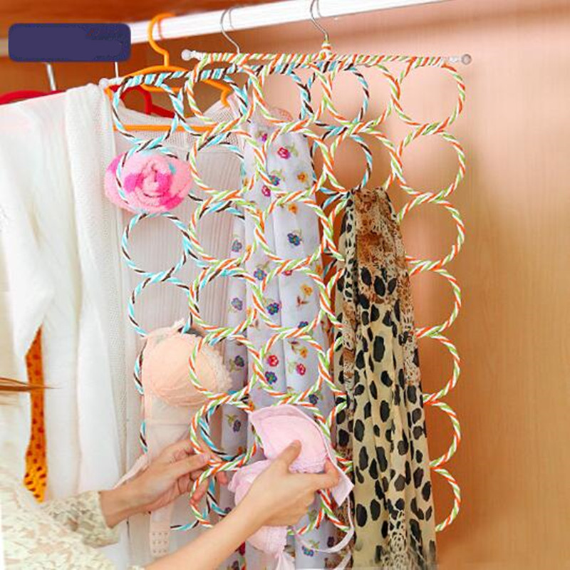 Useful 28 Hole Ring Rope Scarf Wrap Shawl Storage Holder Hook Organizer Rack Clothes Men Tie Hanger