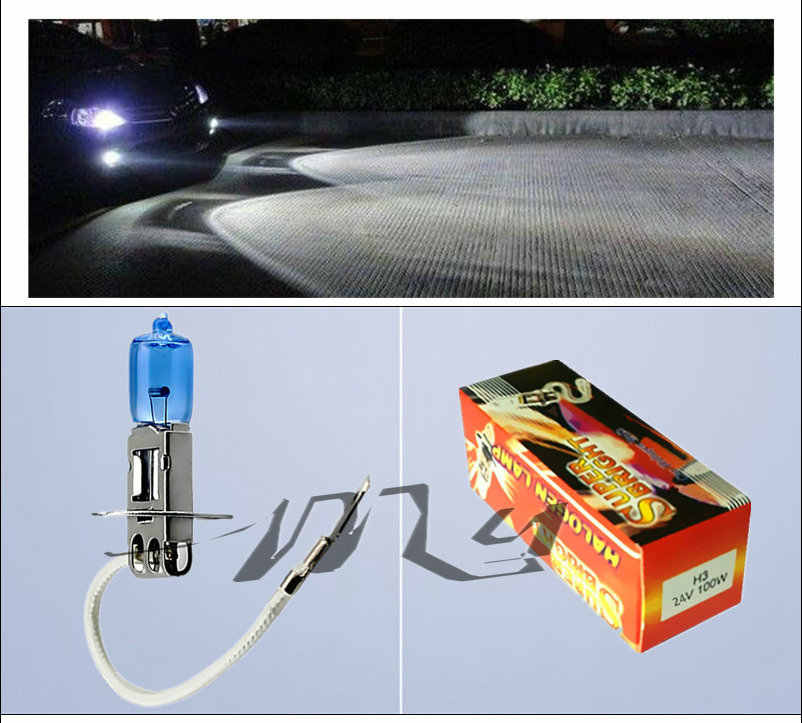 24V H3 100W auto halogen bulbs Car Light Source parking Head Fog Lamps White Headlight Lamp High Power Super Bright