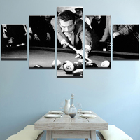 Modern Home Decor Poster Modular Oil Painting 5 Panel HD Printed Movie Star Characters Billiards Canvas