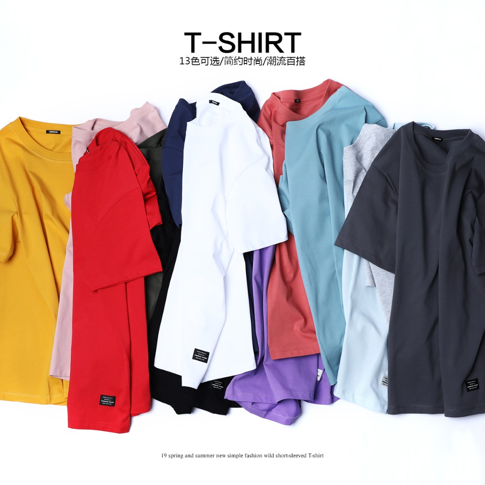 SIMWOOD 2019 Summer New   T  -  Shirt   Men 100% Cotton Solid Color Casual   t     shirt   Basics O-neck High Quality Plus Size Male Tee 190004