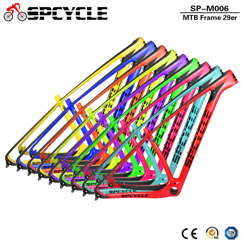 Spcycle New Color T1000 Carbon Mountain Bike Frames 29er Carbon MTB Bicycle Frameset Compatible 135*9 QR And 142*12 Thru Axle
