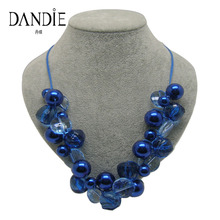 Dandie blue acrylic bead jewelry necklace, choker statement necklace