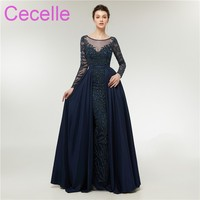 2019 New Luxury Beading Navy Blue Mermaid Long Evening Dresses With Long Sleeves Sheer Neck Over skirt Sparkly Red Carpet Dress