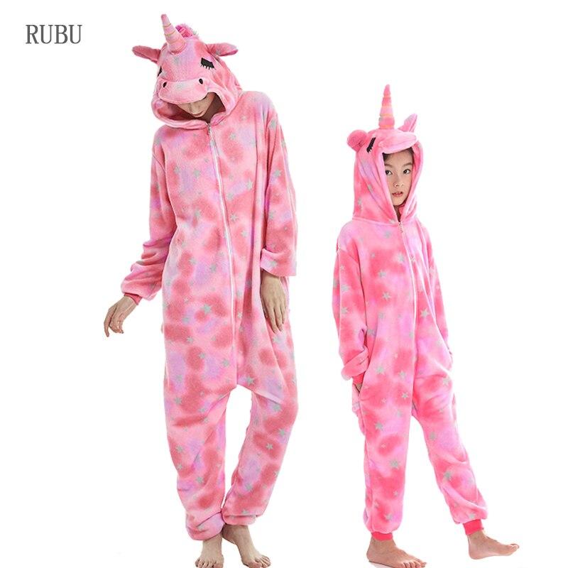 Boys Girls Flannel Star Unicorn   Pajamas   Kigurumi Winter Pyjamas Kids Adults Animal   Pajamas     Sets   Women Sleepwear Panda Cosplay