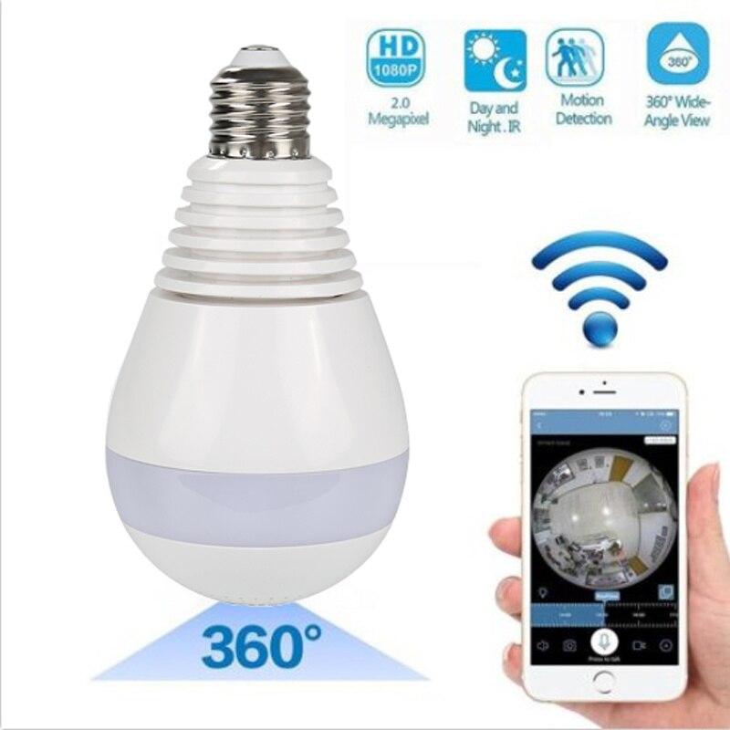 Light Bulb Camera Wireless Camera Wifi 960P Panoramic FishEye Home 360 Degree Night Vision Video Camera