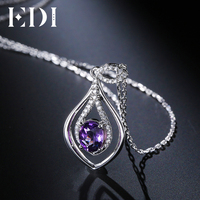 EDI Oval 2ct Natural Purple Gemstone Amethyst Pendant 925 Sterling Silver Chain Necklace Birthstone Fine Jewelry For Women