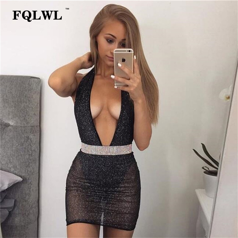 FQLWL Sequins Mesh Short Sexy Dress Women Backless Mini Club Party Dresses Deep V Neck Halter Black/White Bodycon Bandage Dress
