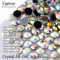 Upriver Wholesale Large Pack Clear Bright Stones Best Quality ss6 ss50 Crystal AB Hotfix Rhinestones For Garment Accessories