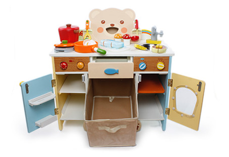 Birthday Gift Baby Toys Animal Gas Cooking bench Simulation Kitchen Toys Child Pretend Play Food Wooden Toys set