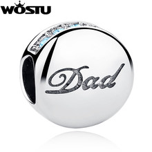 New Fashion 925 Sterling Silver Dad Charm Beads Fit Original WST Bracelet Pendant Authentic DIY Jewelry Gift Father CQC006(China)
