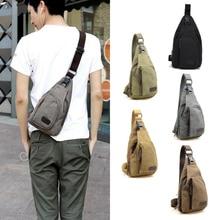 Men Vintage Canvas Leather Satchel Shoulder Sling Pack Bag H