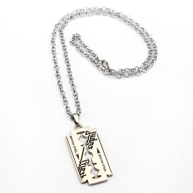 Music band judas priest necklace razor blade shape pendant fashion music band judas priest necklace razor blade shape pendant fashion alloy link chain necklaces friendship gift thecheapjerseys Image collections