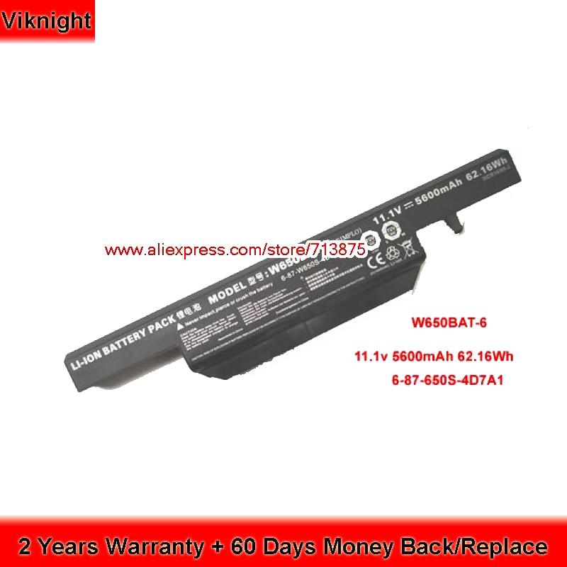 Clevo W650BAT-6 Laptop Battery For K570N K710C K610C K590C-I3 6-87-W50S-4D4A2 5600mAh origianl clevo 6 87 n350s 4d7 6 87 n350s 4d8 n350bat 6 n350bat 9 laptop battery