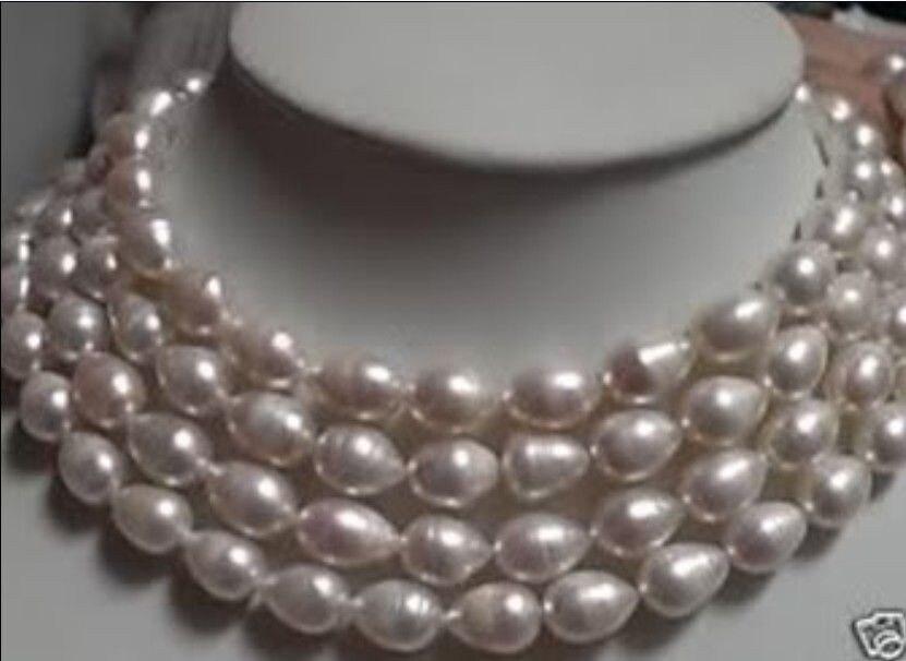Mode 7-10 MM AAA blanc Baroque coquille collier de perles longue corde chaîne perles bijoux pierre naturelle 68 pouces