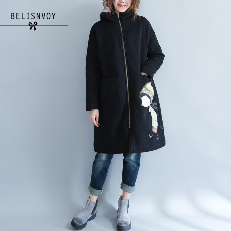 2117 Autumn Winter Jacket Women Long Coat Warm Thick Velvet Black Padded Jacket Plus Size Cartoon Hooded   Parka   Women's Jackets