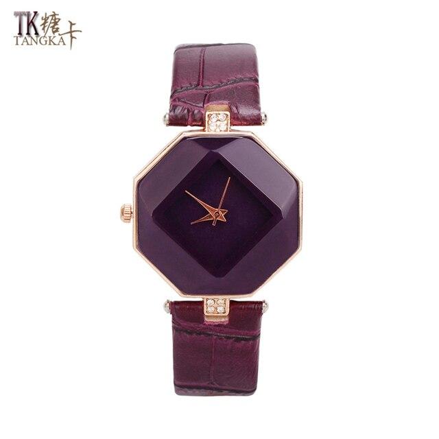 acb345a9e3be6 Haute qualité femmes montres violet mode femme montre bijoux horloge  aiguille bouton en cuir bracelets de