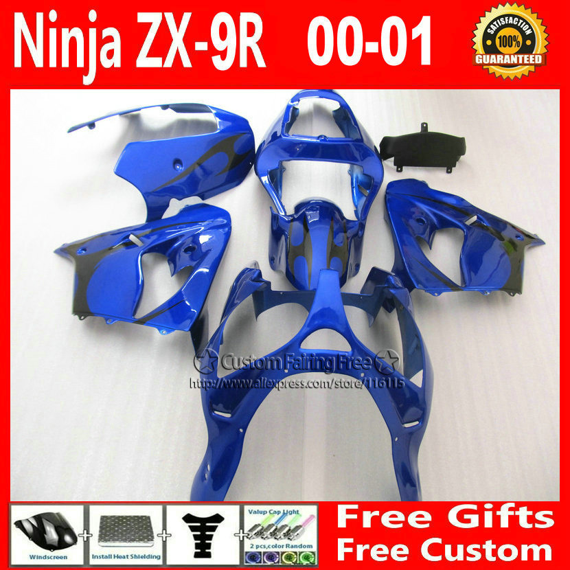 Best bodywork for Kawasaki Customize free right fairing kit ZX9R 2000 2001 ZX9R 00 01 Ninja customize dark blue bodykit+7Gifts compression mold bodykit for kawasaki fairing kits zx9r 2000 2001 zx 9r 00 01 ninja customize green purple body parts 7gifts