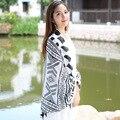 2016 Cachecol Mulheres Lenços de Algodão Branco Preto Das Senhoras Do Vintage Cachecol Cozy Verificado Blanket Oversized Envoltório Xale Poncho Pashmina