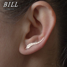 ES931 Vintage Jewelry Exquisite Leaf Earrings Modern Beautiful Feather Stud Earrings for Women NEW Arrival 2018
