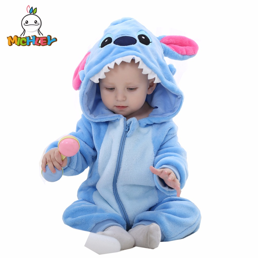 MICHLEY Baby Romper 2019 New Arrived Clothes Autumn Boy Cartoon Blue Girl One Piece Clothing Winter Coveralls XYZ-2