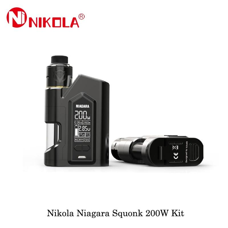 Sigarette elettroniche Squonker Kit Nikola Niagara Squonk 200 w Squonker Box Mod Alimentato Niagara Squonk RDA Vape Vaporizzatore 18650